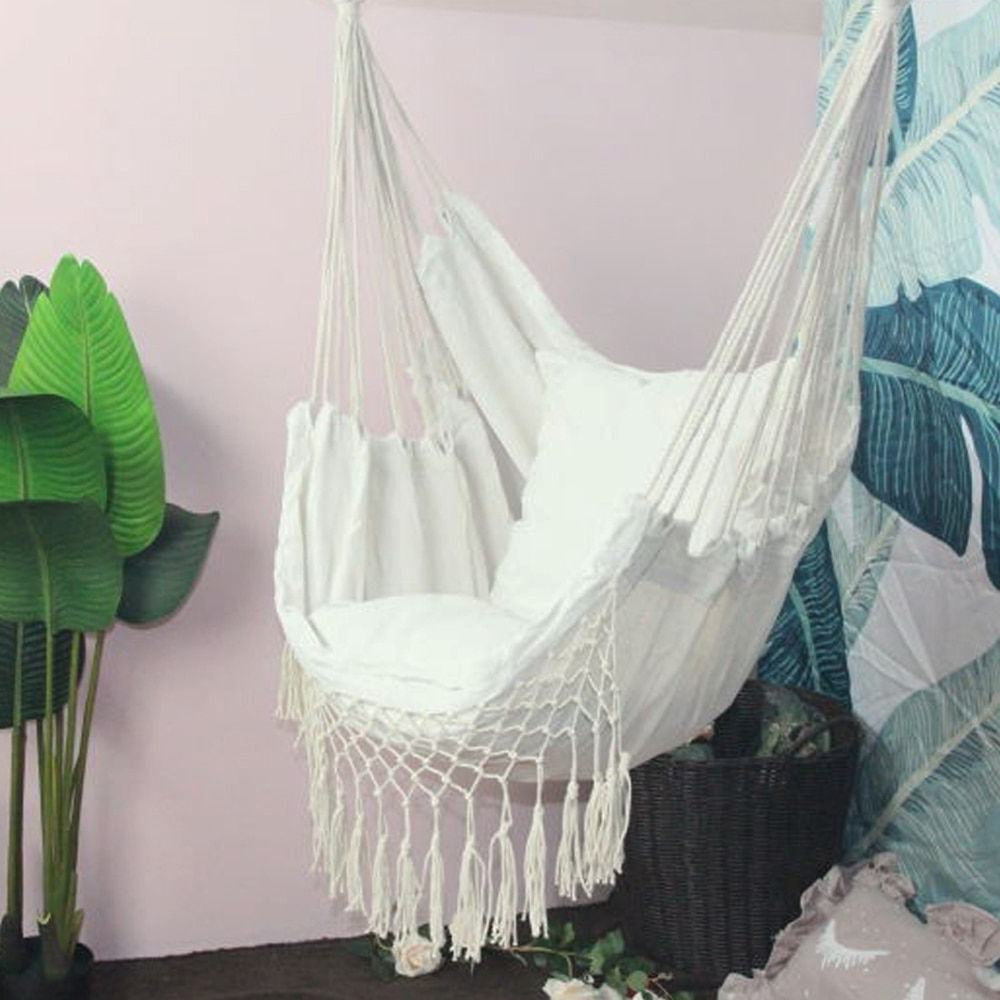 Well Known Hanging Rope Hammock Chair Porch Swing Seat, Large Hammock Throughout Cotton Porch Swings (Gallery 5 of 30)