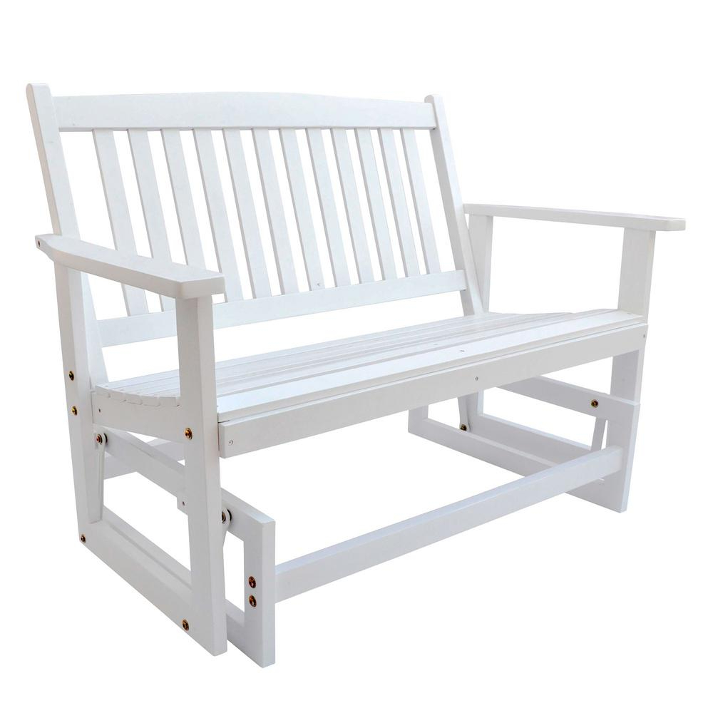 Well Known Hardwood Porch Glider Benches Throughout Shine Company Torrey Outdoor Wood Glider Loveseat Bench 46 In. White (Gallery 25 of 30)