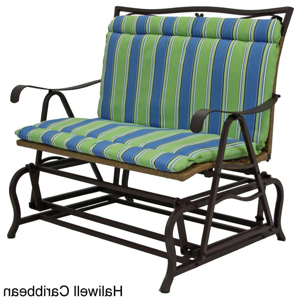 Well Known Indoor/outdoor Double Glider Benches Regarding All Weather Blue Floral Outdoor Double Glider Chair Cushion (Gallery 12 of 30)