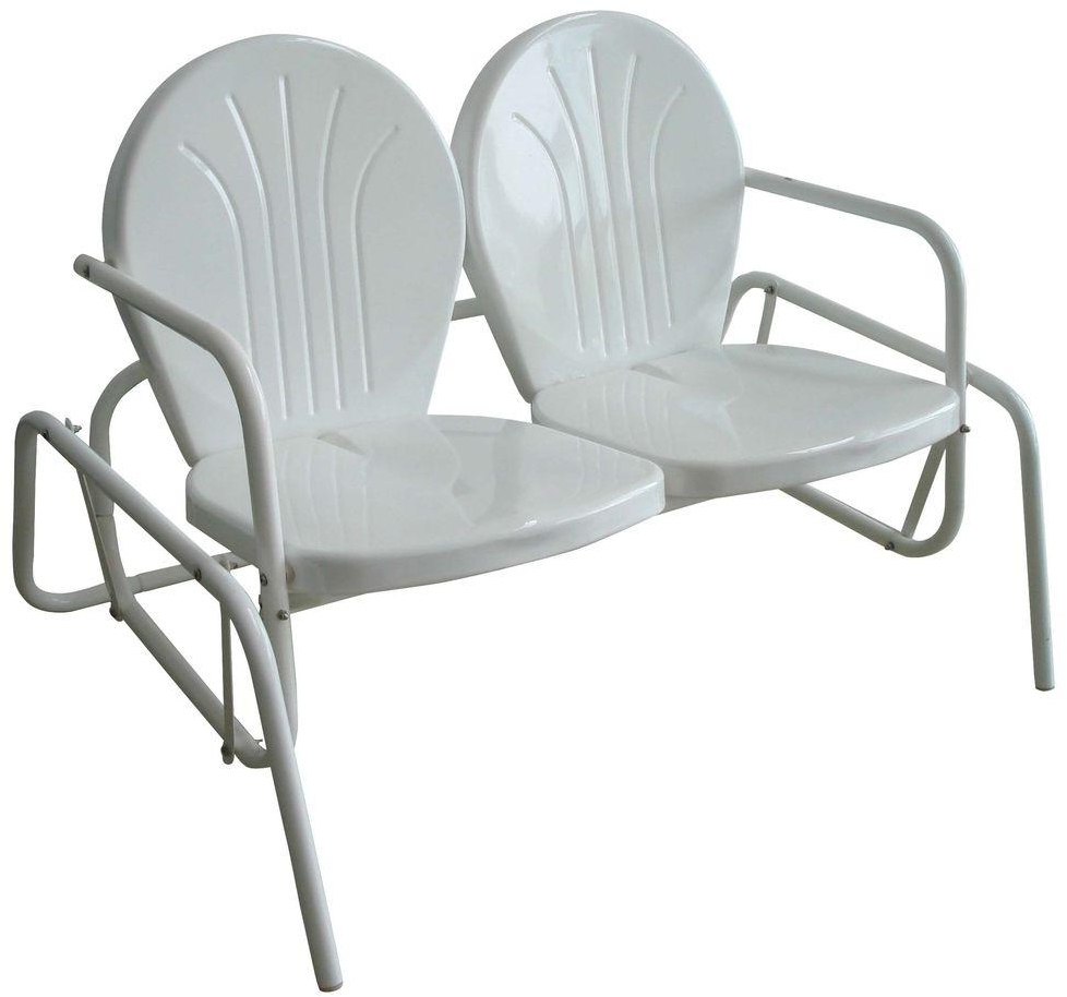 Well Known Indoor/outdoor Double Glider Benches Regarding Details About Double Seat Glider Patio Steel Chair For Indoor/outdoor Use  Tulip Stamp White (Gallery 1 of 30)
