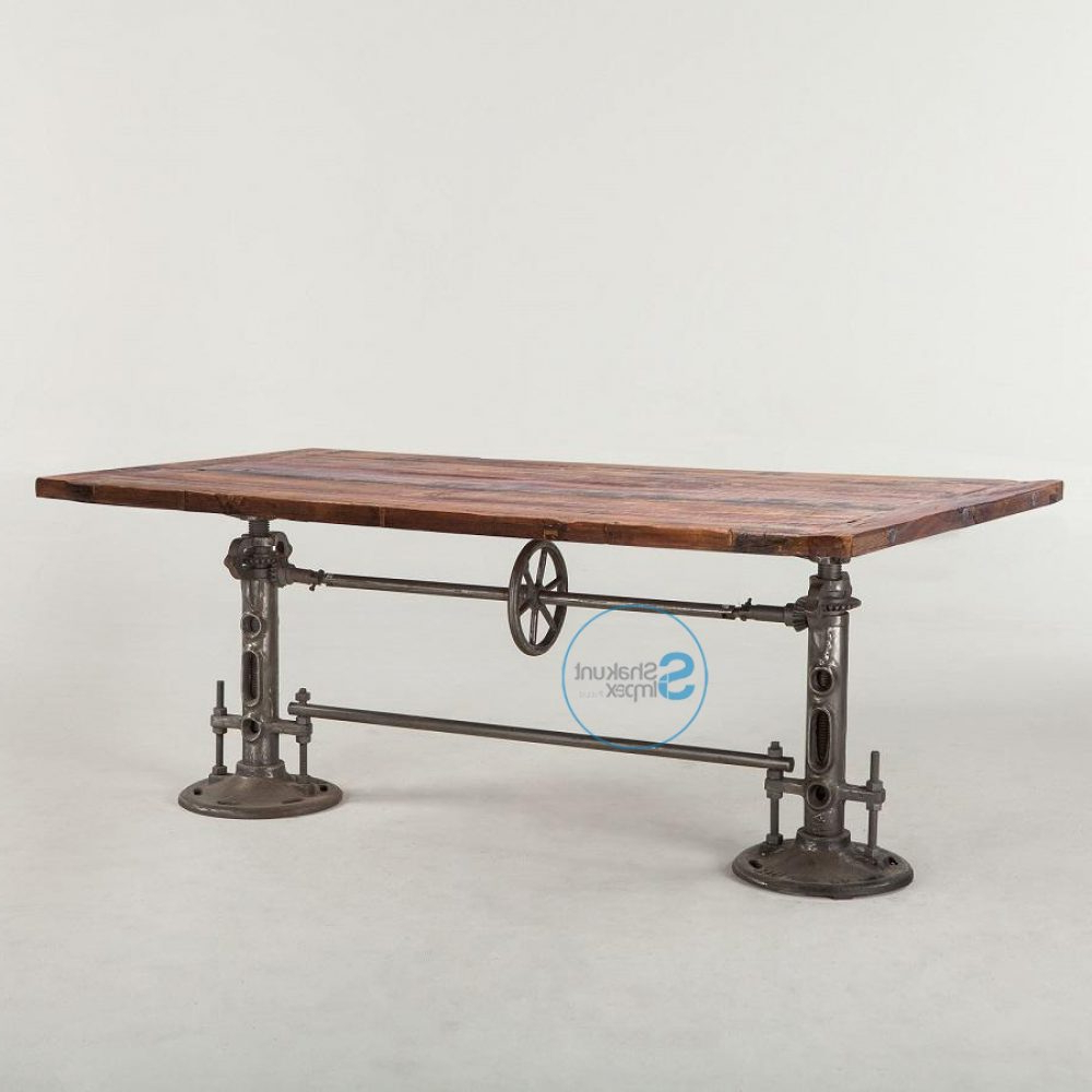 Well Known Iron Wood Dining Tables With Regard To Vintage Industrial Cast Iron Double Crank Mechanism Dining (Gallery 7 of 30)
