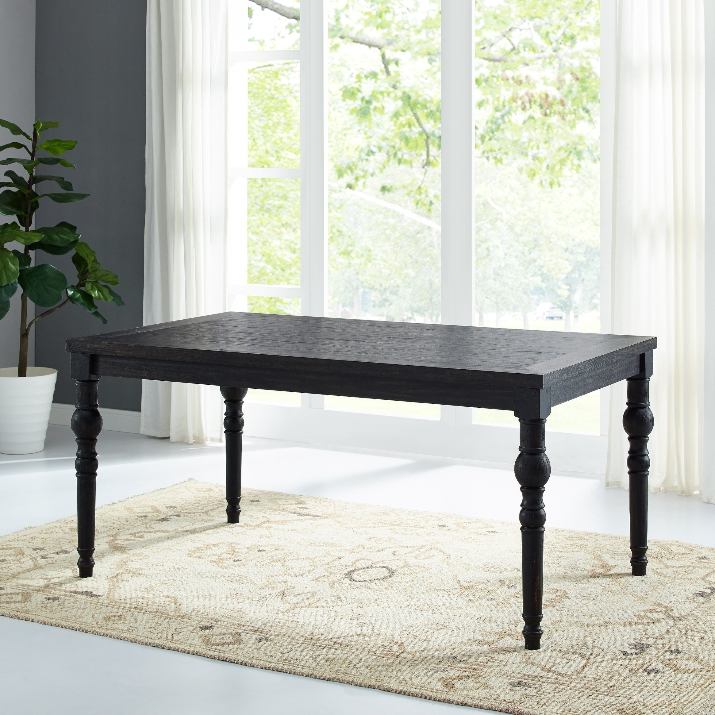 Well Known Leviton Urban Style Wood Dark Wash (Blue) Turned Leg Dining Intended For Acacia Dining Tables With Black Rocket Legs (Gallery 23 of 30)