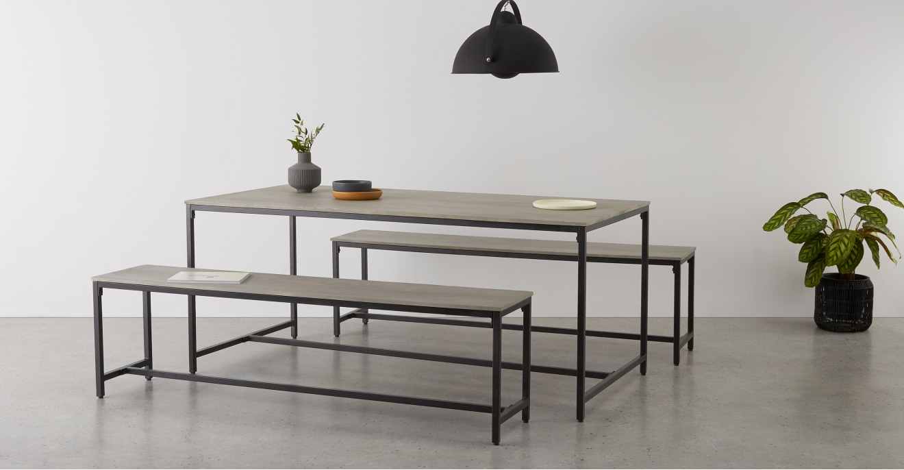 Well Known Lomond Dining Table And Bench Set, Grey Washed Mango Wood Within Iron Dining Tables With Mango Wood (Gallery 17 of 30)