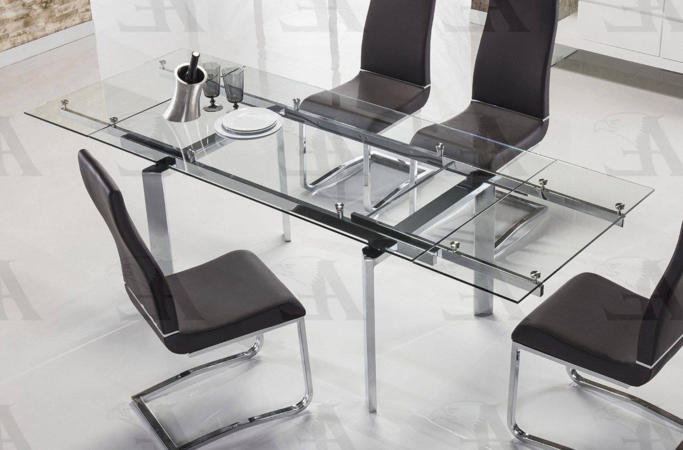 Well Known Modern Glass Top Extension Dining Tables In Stainless Inside American Eagle Furniture Tl 1134S C Clear Glass Top Extendable Dining Table  Chrome Legs (Gallery 14 of 30)