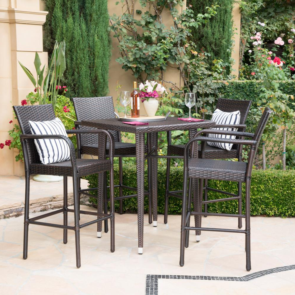 Well Known Noble House Multi Brown 5 Piece Wicker Square Outdoor Bar Height Dining Set Intended For Patio Square Bar Dining Tables (View 28 of 30)