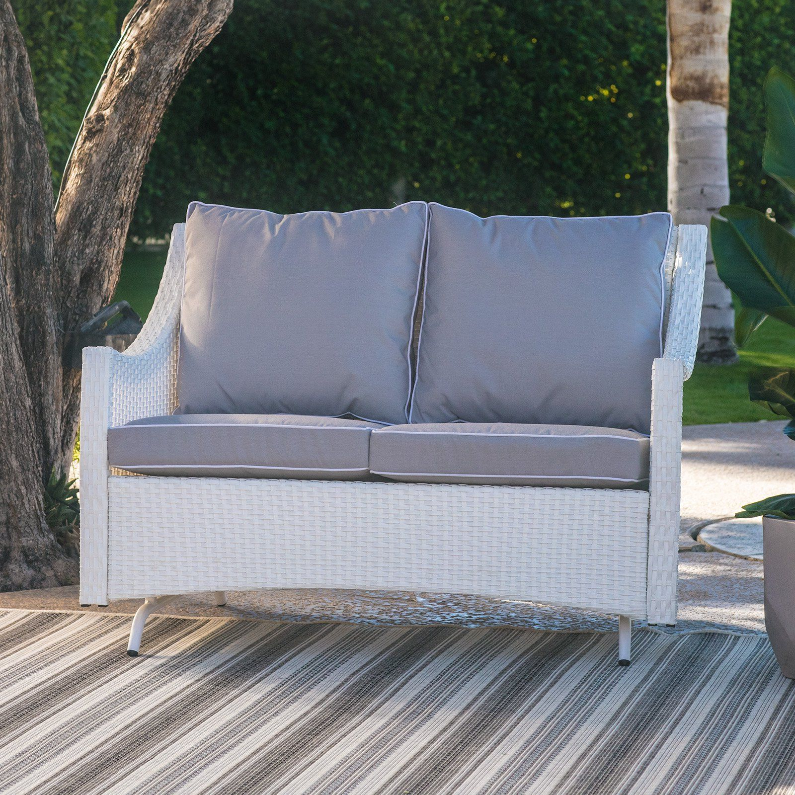 Well Known Outdoor Loveseat Gliders With Cushion For Belham Living Lindau All Weather Wicker Patio Loveseat (View 9 of 30)