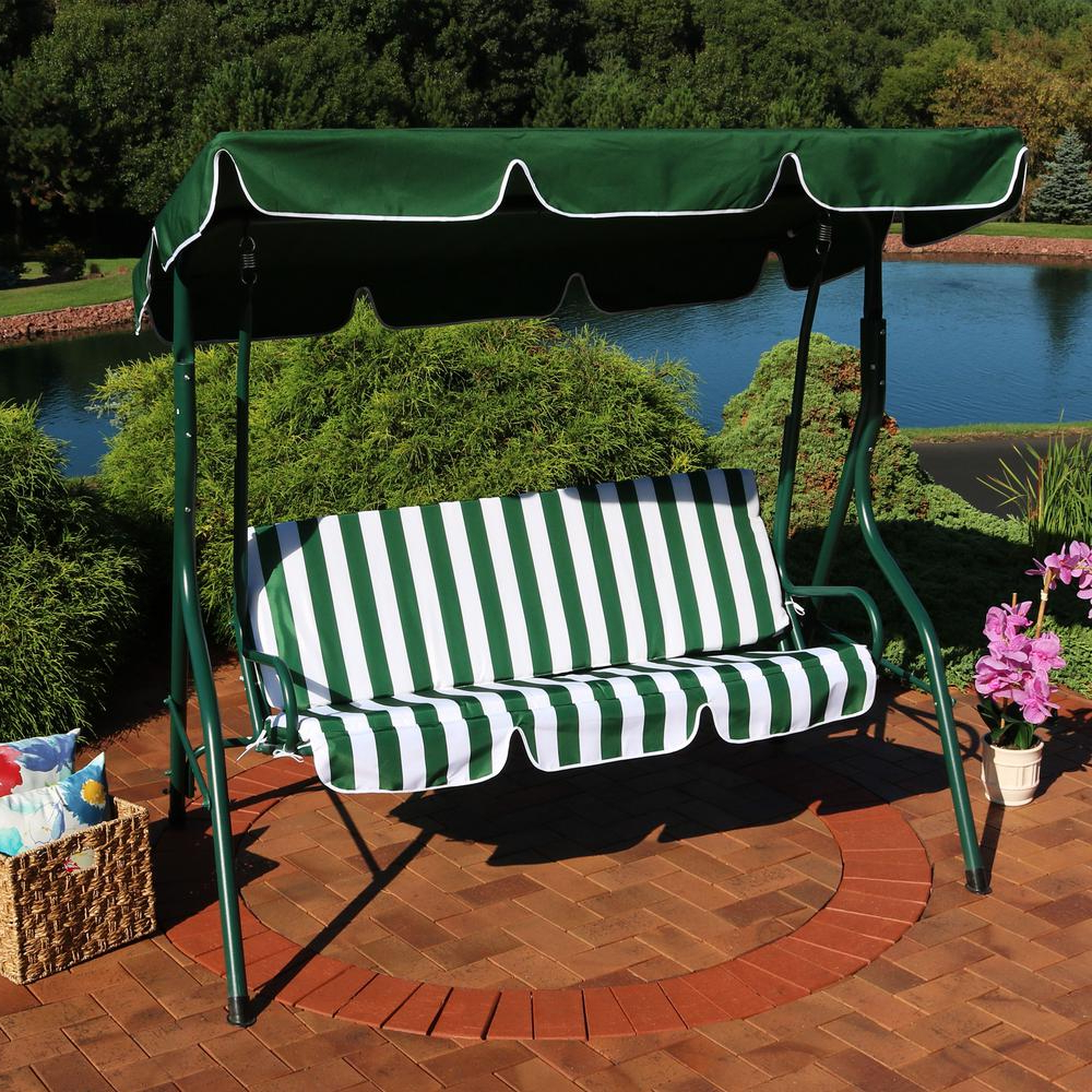 Well Known Outdoor Pvc Coated Polyester Porch Swings With Stand With Regard To Sunnydaze Decor 3 Person Green Steel Porch Swing With Green (View 28 of 30)