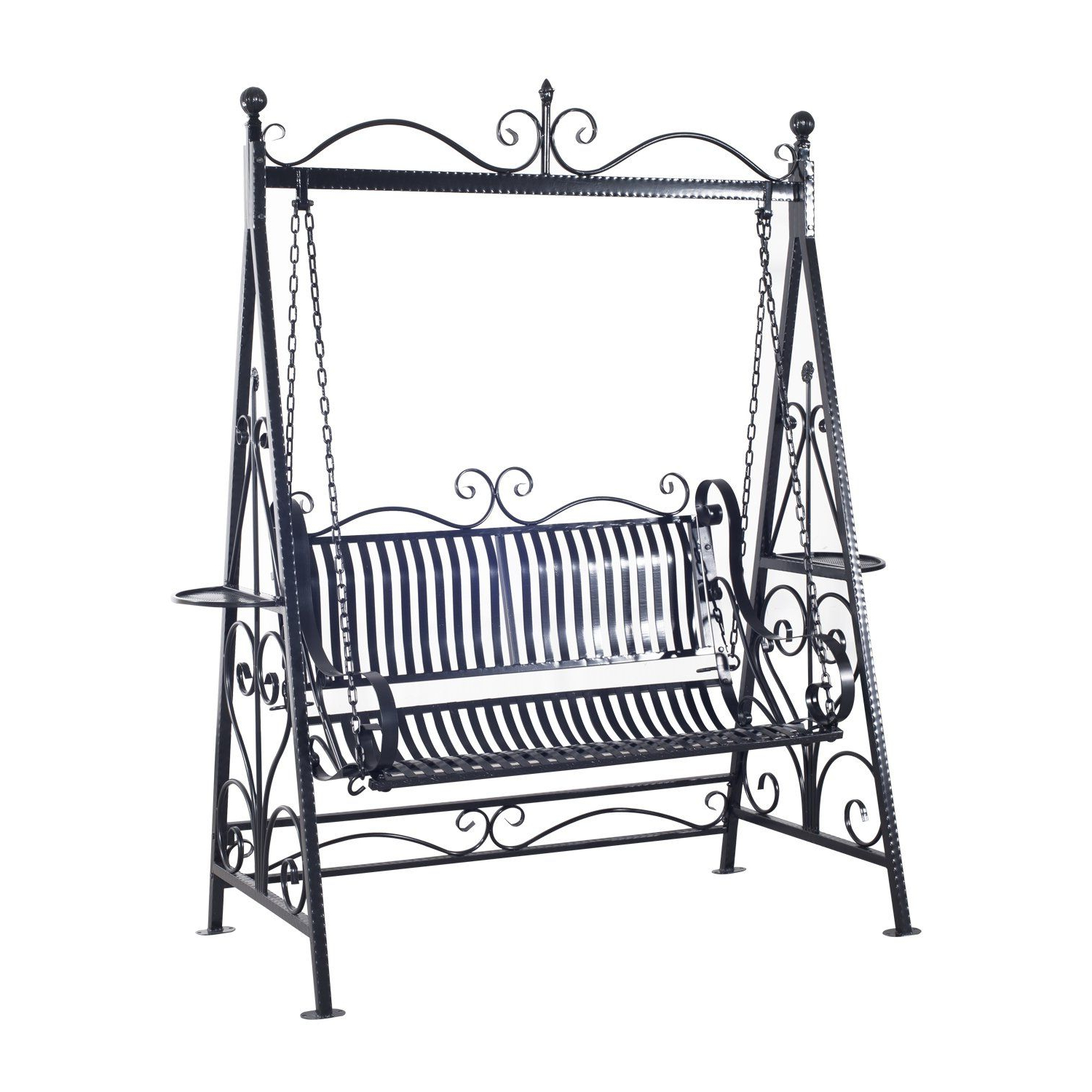 Well Known Outsunny Garden Metal Swing Chair Outdoor Patio Hammock Regarding 2 Person Hammered Bronze Iron Outdoor Swings (View 7 of 30)