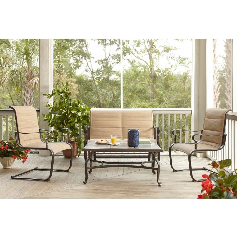 Well Known Padded Sling Loveseats With Cushions For Hampton Bay Belleville Padded Sling 4 Piece Patio Seating Set (Gallery 20 of 30)