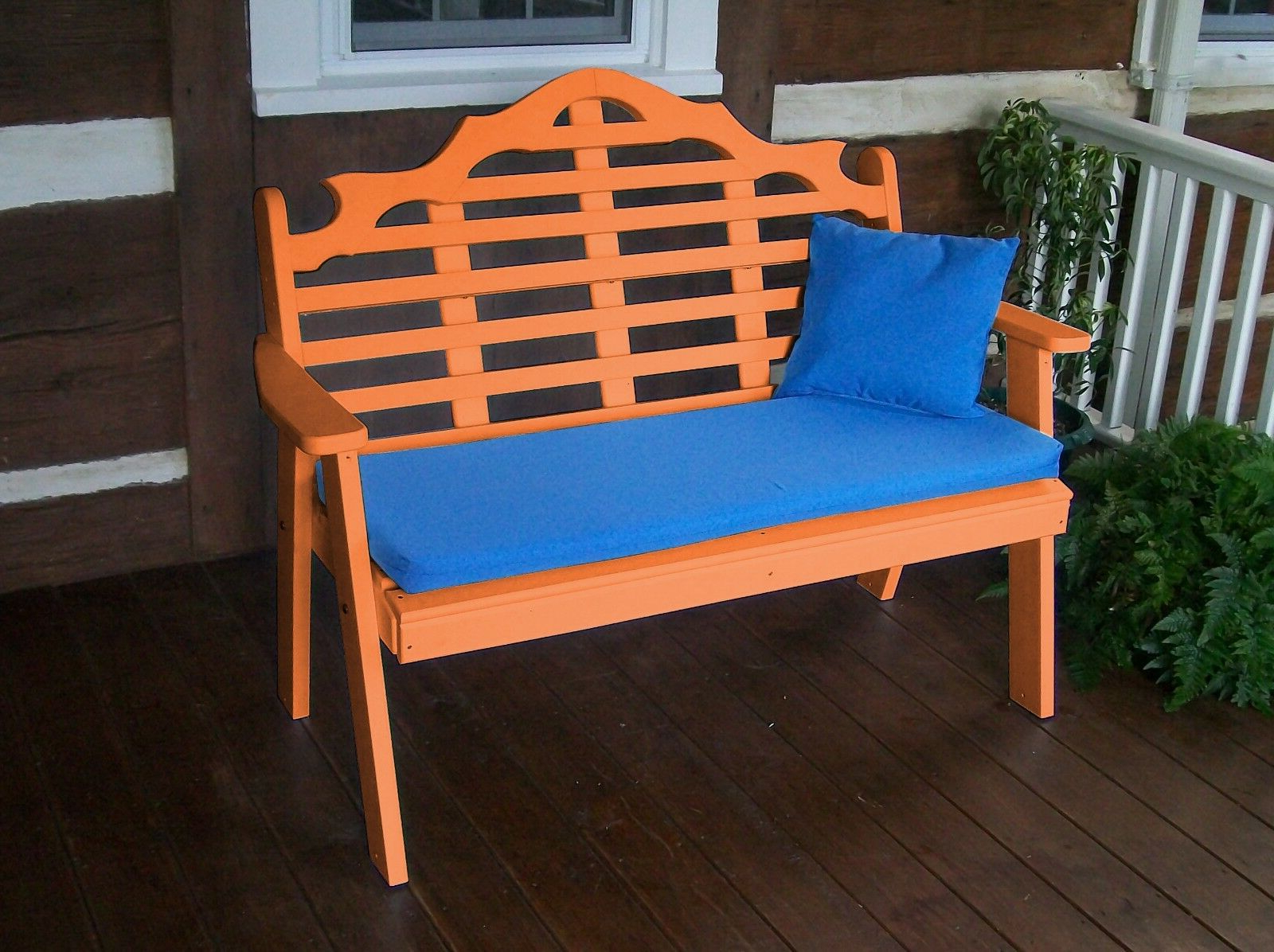 Well Known Poly 5 Foot Marlboro Garden Bench – Tangerine Orange – Made In Usa Intended For Traditional English Glider Benches (Gallery 29 of 34)