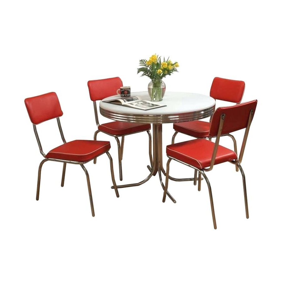 Well Known Retro Round Glasstop Dining Tables Throughout Red Dining Table Chairs – Founderware (View 26 of 30)