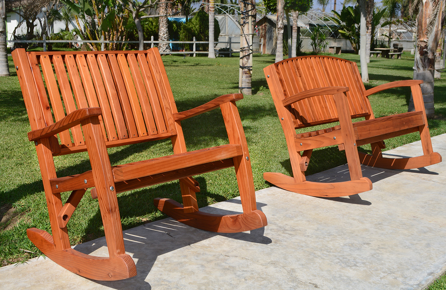 Well Known Rocking Benches With Cushions Intended For Redwood Outdoor Rocker, Hand Crafted Wooden Rocker (Gallery 7 of 30)