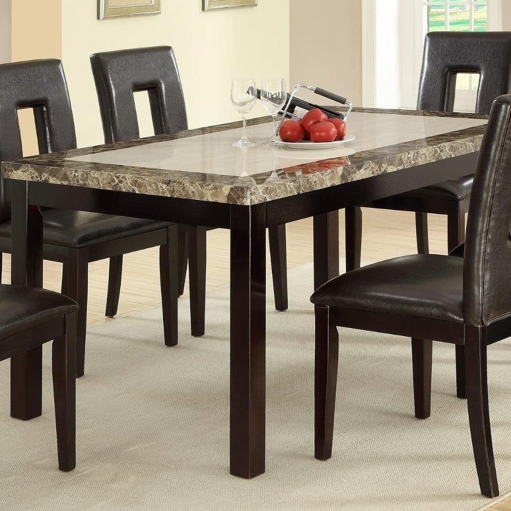 Well Known Slick Finish Faux Marble & Pine Wood Dining Table, Brown In Faux Marble Finish Metal Contemporary Dining Tables (View 25 of 30)