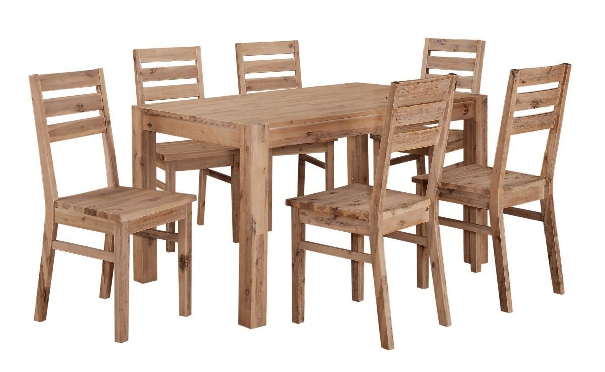 Well Known Solid Acacia Wooden Dining Table And 6 Chairs Set With Regard To Solid Acacia Wood Dining Tables (Gallery 20 of 30)