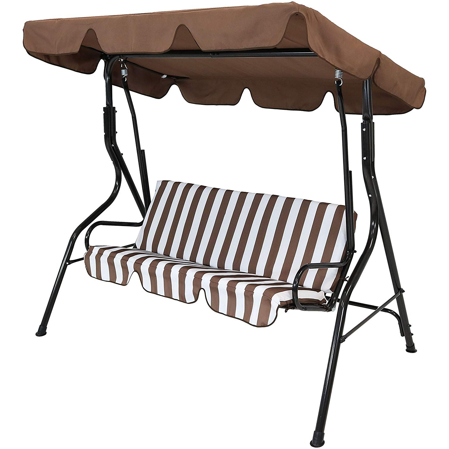 Well Known Sunnydaze Outdoor Porch Swing With Adjustable Canopy And Durable Steel  Frame, 2 Person Patio Seater, Brown Striped Seat Cushions Within Canopy Porch Swings (Gallery 12 of 30)