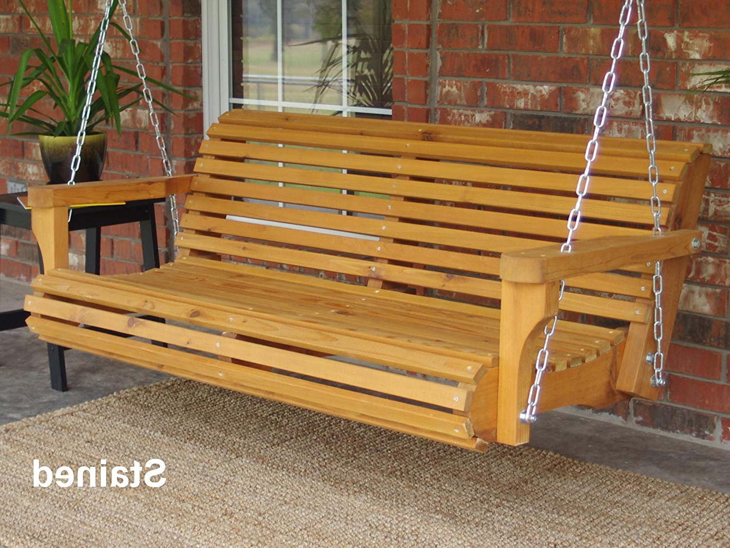 Well Known Three Man Contoured Classic Cedar Porch Swing With Hanging Chain And  Cupholders – 4 Foot Stained Throughout Contoured Classic Porch Swings (Gallery 1 of 30)