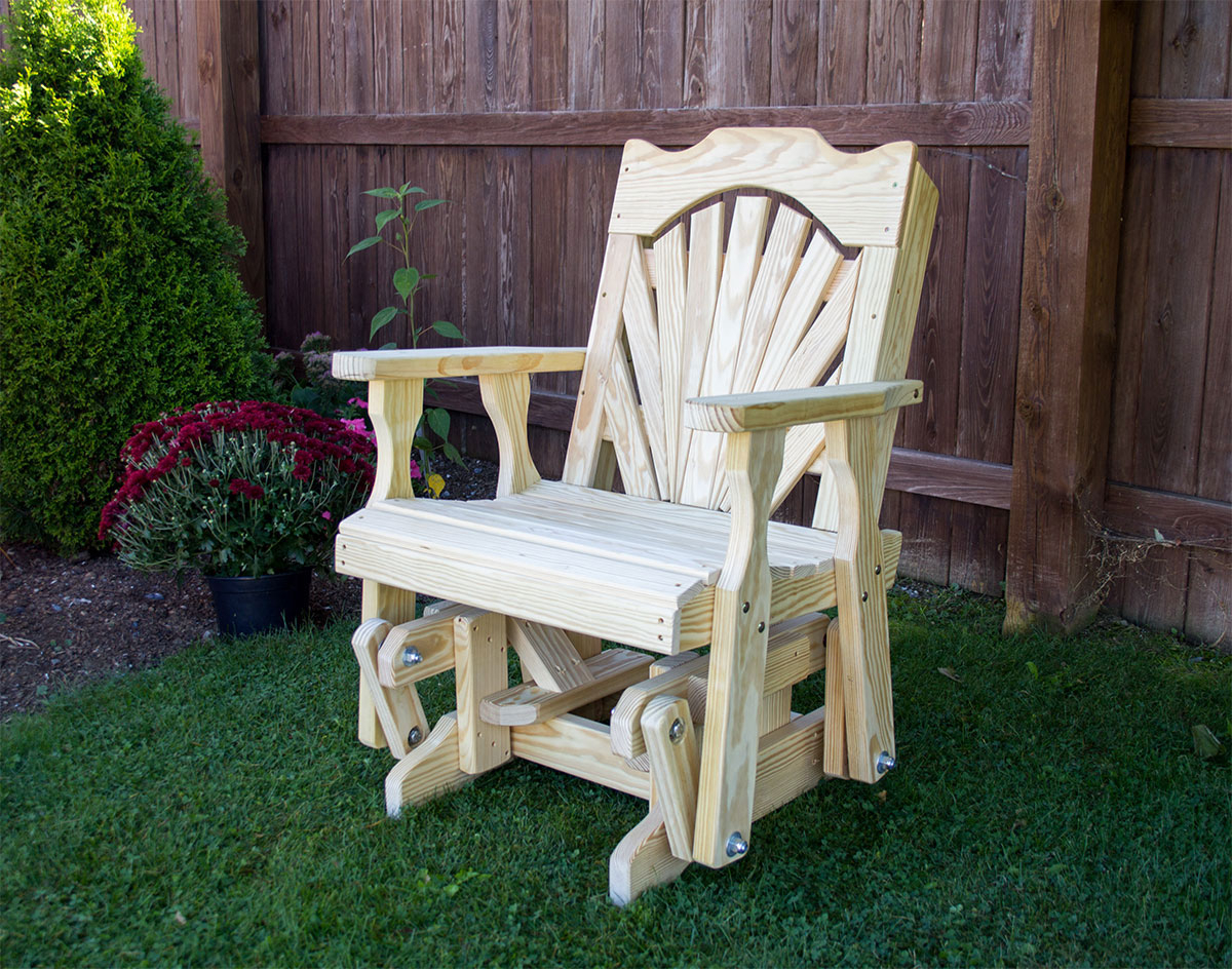 Well Known Treated Pine Fanback Glider Chair With Fanback Glider Benches (Gallery 24 of 30)