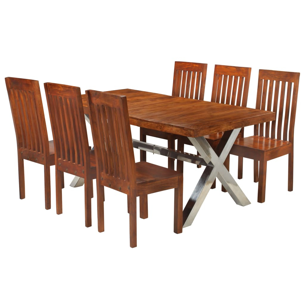 Well Known Vidaxl Dining Table Set 7 Piece Solid Acacia Wood With Sheesham Finish Pertaining To Solid Acacia Wood Dining Tables (View 24 of 30)