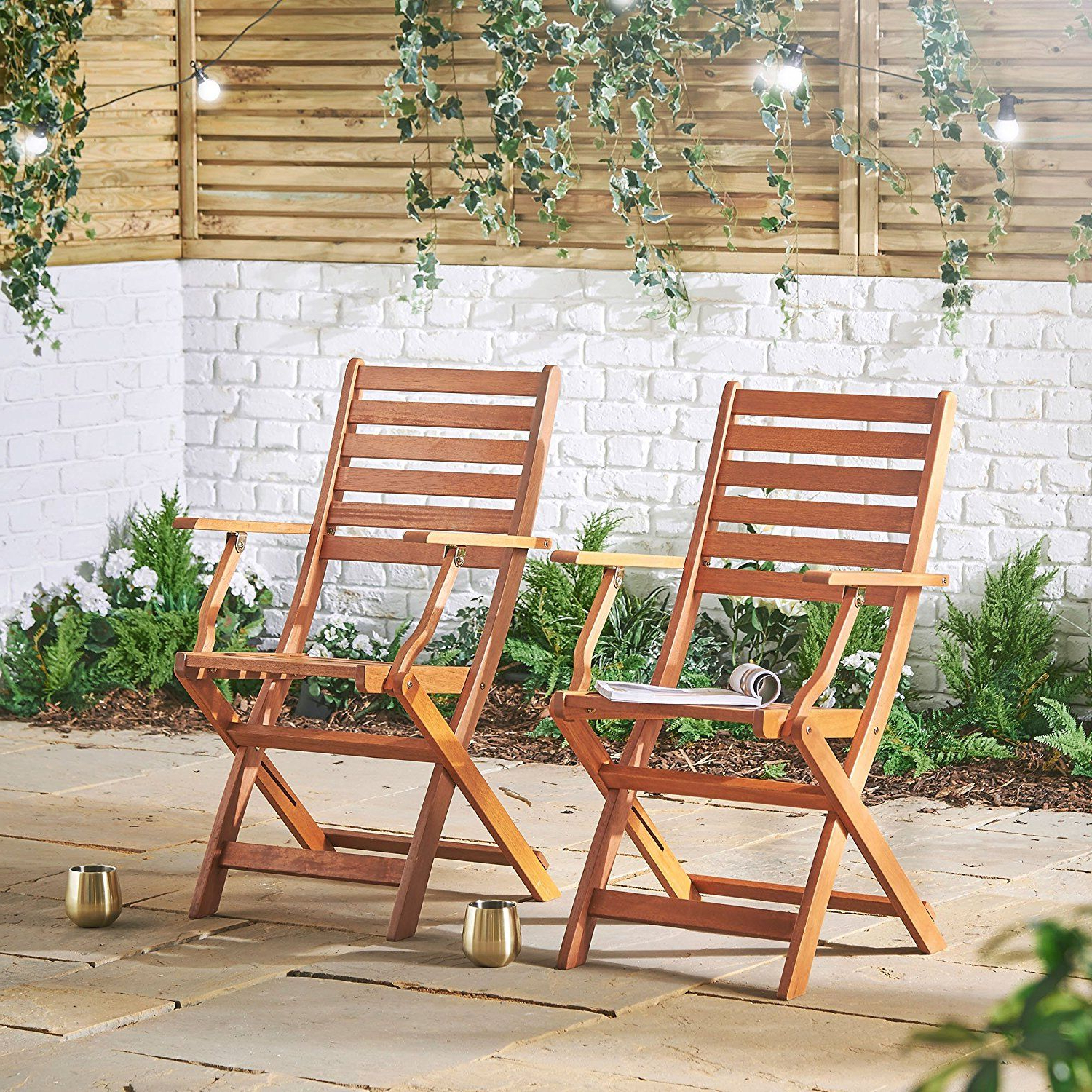 Well Known Vonhaus 2 Pack Wooden Folding Chairs – Set Of 2 Armchairs Regarding 2 Person Light Teak Oil Wood Outdoor Swings (Gallery 15 of 30)