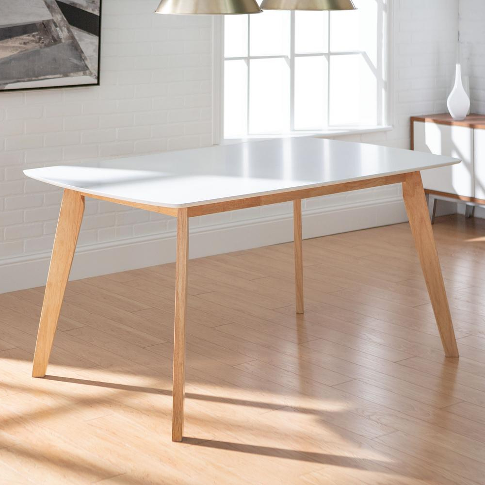 """Well Known Walker Edison Furniture Company 60"""" Mid Century Modern Wood Throughout Rustic Mid Century Modern 6 Seating Dining Tables In White And Natural Wood (View 30 of 30)"""