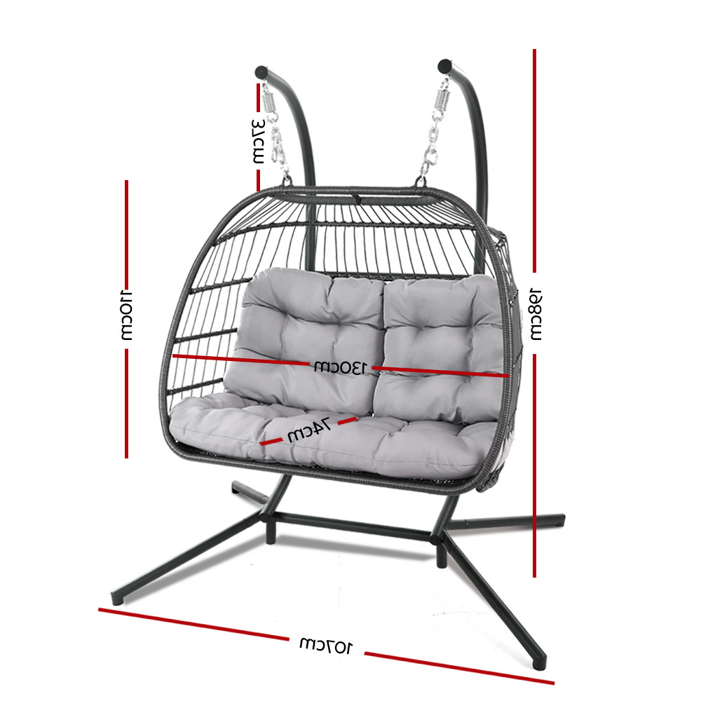 Well Liked 2 Person Gray Steel Outdoor Swings Regarding Gardeon Outdoor Furniture Hanging Swing Chair Egg Hammock Pod Wicker 2  Person Grey (Gallery 11 of 30)