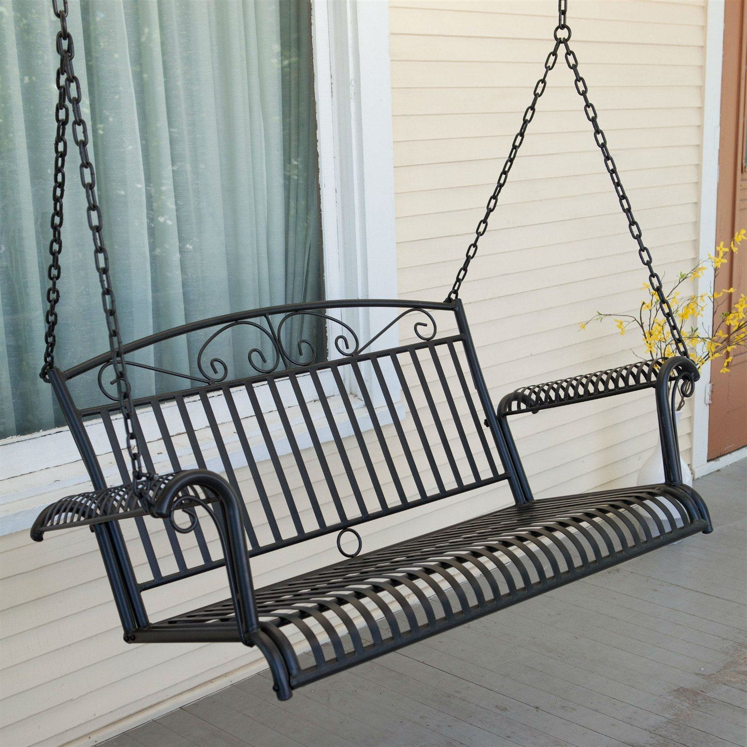 Well Liked 2 Person Hammered Bronze Iron Outdoor Swings In Wrought Iron Outdoor Patio 4 Ft Porch Swing In Black (View 3 of 30)