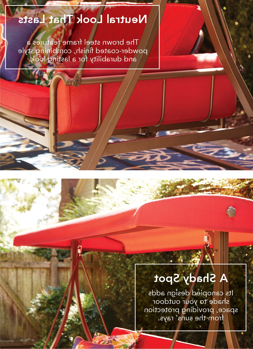 Well Liked 3 Person Brown Steel Outdoor Swings Pertaining To Garden Treasures 3 Person Red With Brown Powder Coated Frame (View 18 of 30)