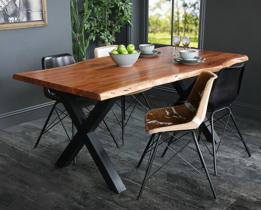 Well Liked Acacia Dining Tables With Black X Leg Intended For Acacia Dining Table With Natural Edge And Black Metal Cross Leg Base (Gallery 26 of 30)