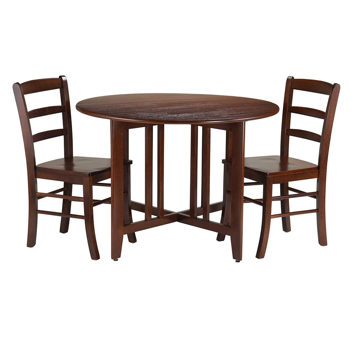 Well Liked Alamo Transitional 4 Seating Double Drop Leaf Round Casual Dining Tables With Winsome 3 Piece Alamo Round Drop Leaf Table With 2 Ladder Back Chairs, Brown (View 3 of 19)