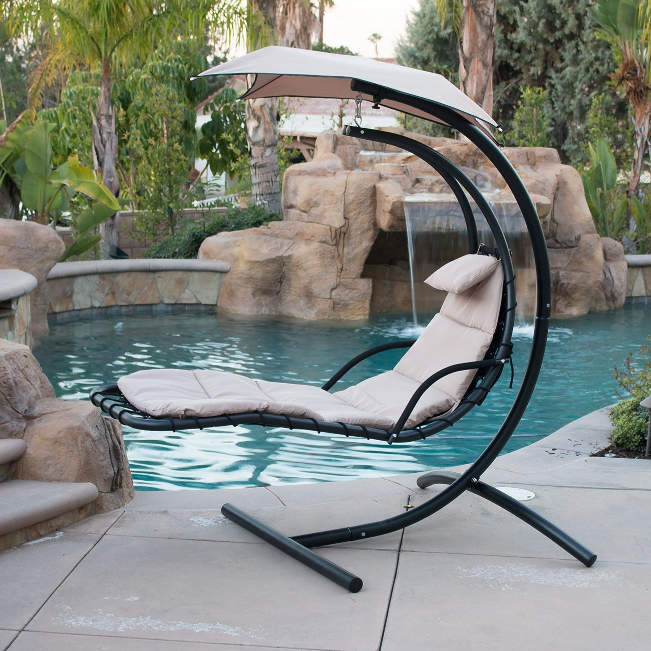 Well Liked Canopy Patio Porch Swing With Stand Regarding Patio & Garden Furniture Hanging Chaise Lounger Chair Arc (Gallery 25 of 30)