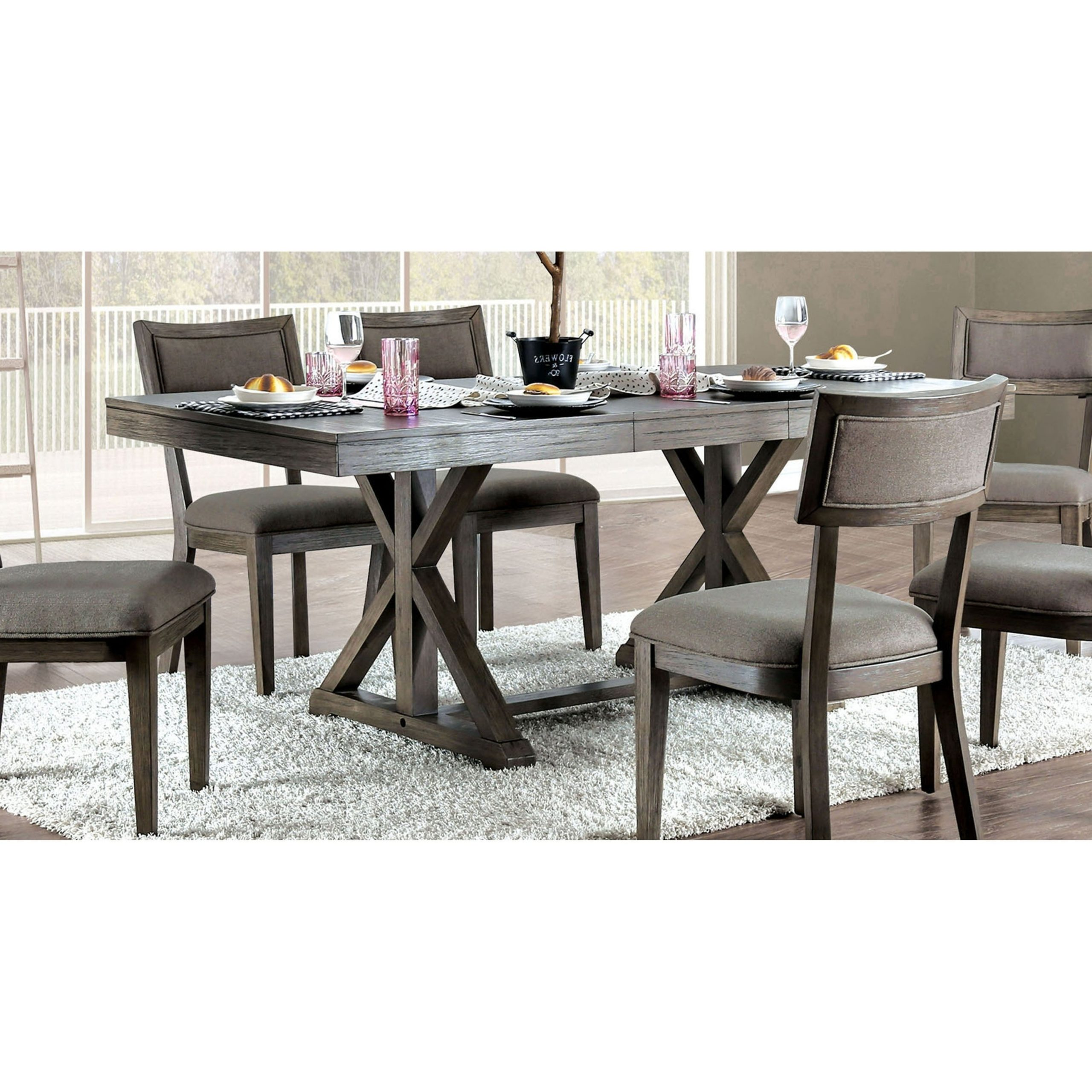 Well Liked Carbon Loft Valjean Grey Wood Dining Table Pertaining To Charcoal Transitional 6 Seating Rectangular Dining Tables (Gallery 28 of 30)