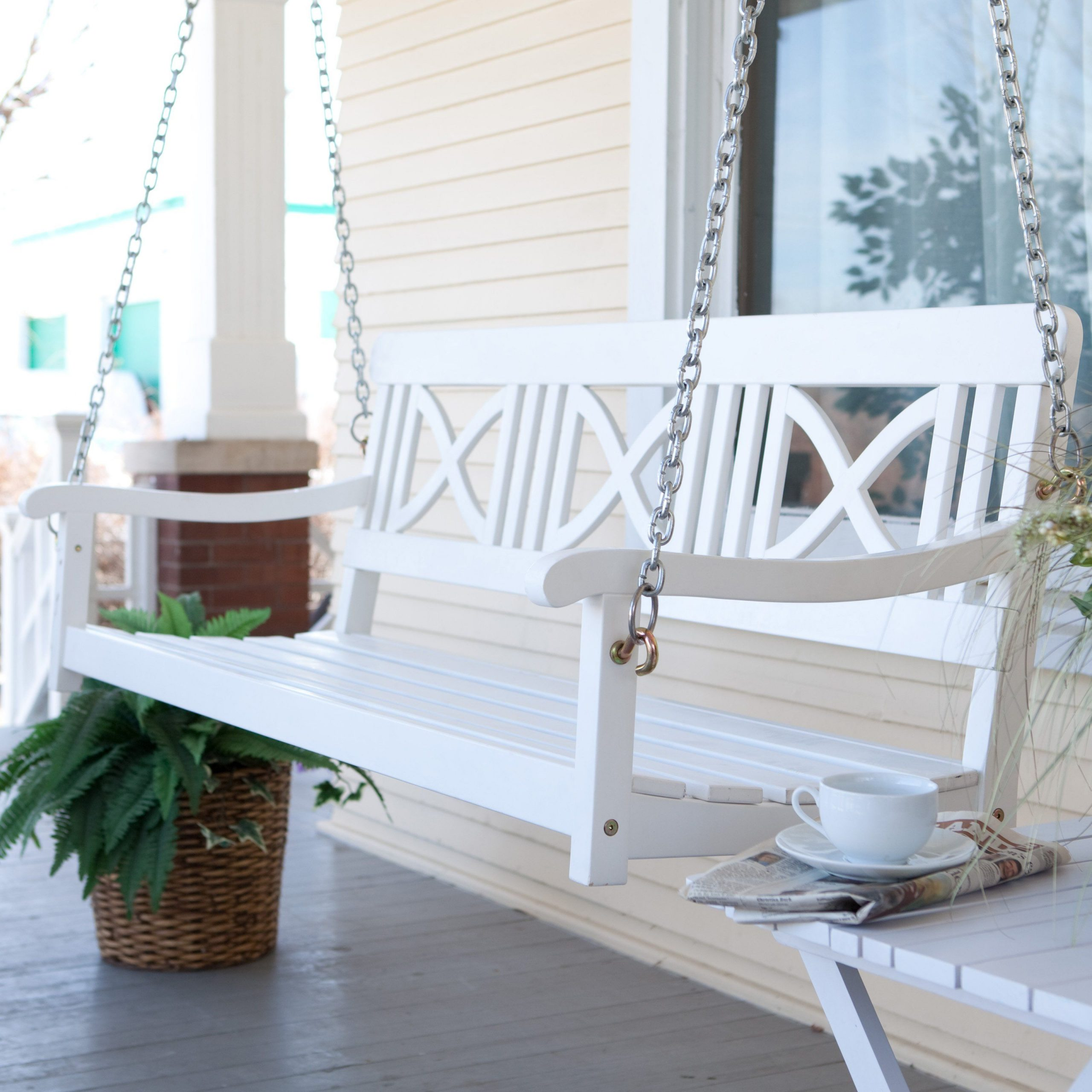 Well Liked Casual Thames White Wood Porch Swings Pertaining To Matera Crossback Painted Wood Porch Swing – White $ (View 28 of 30)