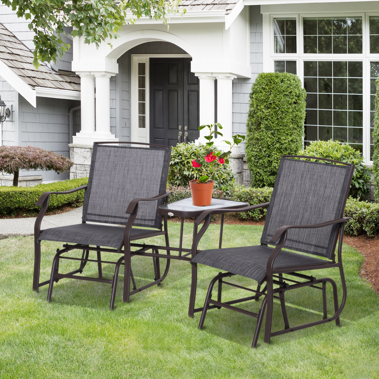 Well Liked Center Table Double Glider Benches Pertaining To Details About Outsunny Double Glider Chairs Garden Bench With Center Table Garden Backyard (View 12 of 30)