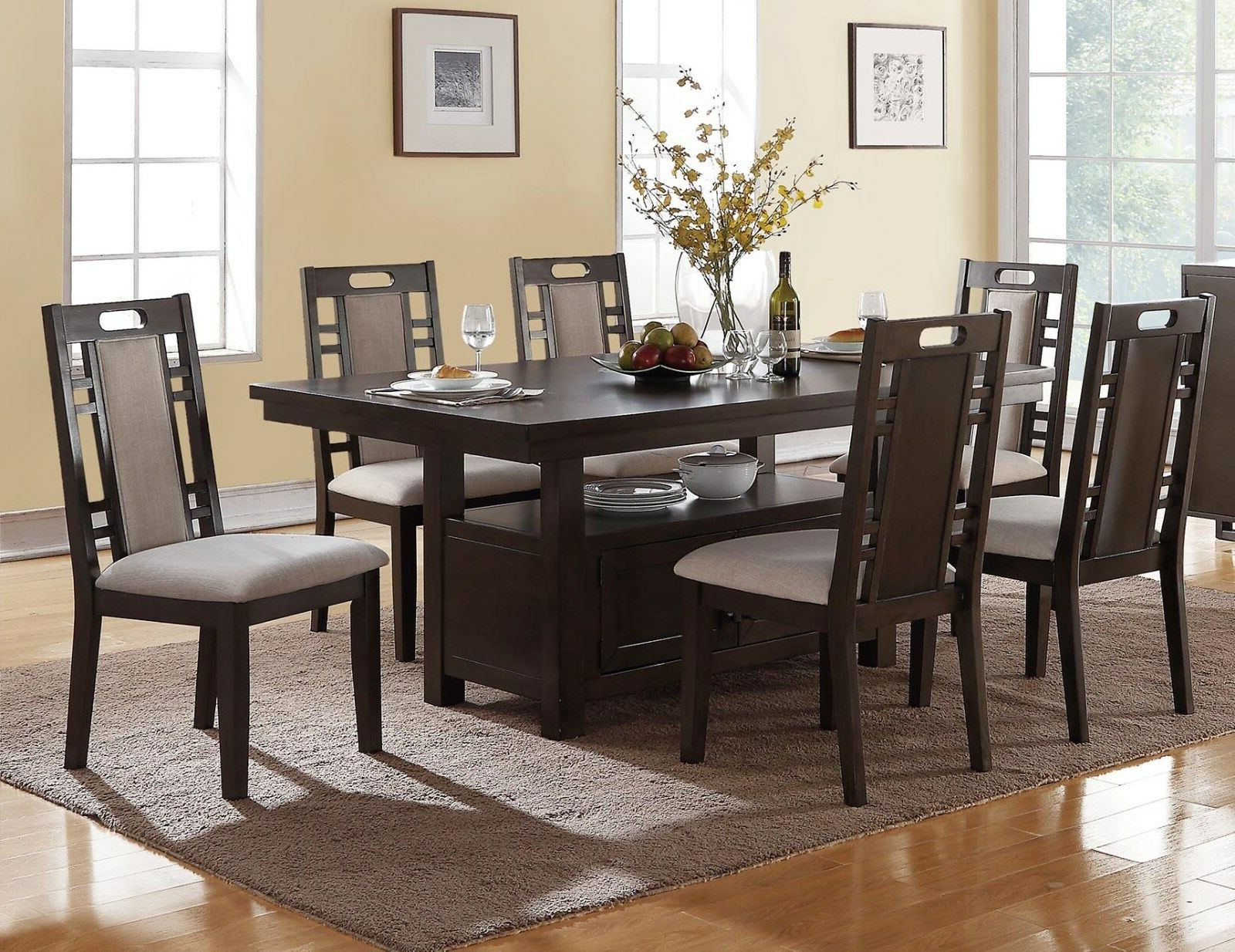 Well Liked Charcoal Transitional 6 Seating Rectangular Dining Tables In Transitional Camden 7Pc Charcoal Gray Wood Dining Table Set W/ Storage  Cabinet (Gallery 6 of 30)