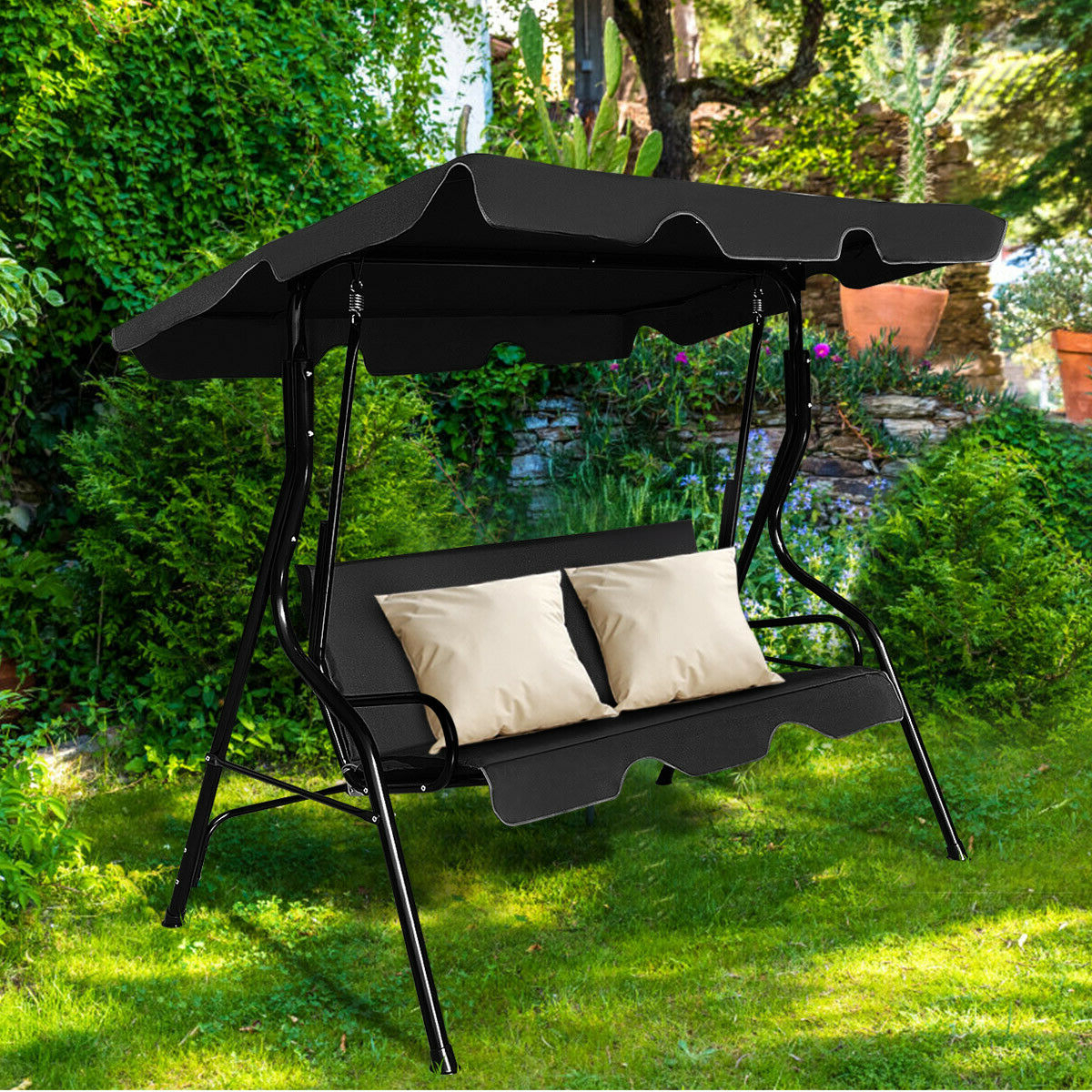 Well Liked Costway 3 Seats Patio Canopy Swing Glider Hammock Cushioned With 3 Seats Patio Canopy Swing Gliders Hammock Cushioned Steel Frame (Gallery 3 of 30)