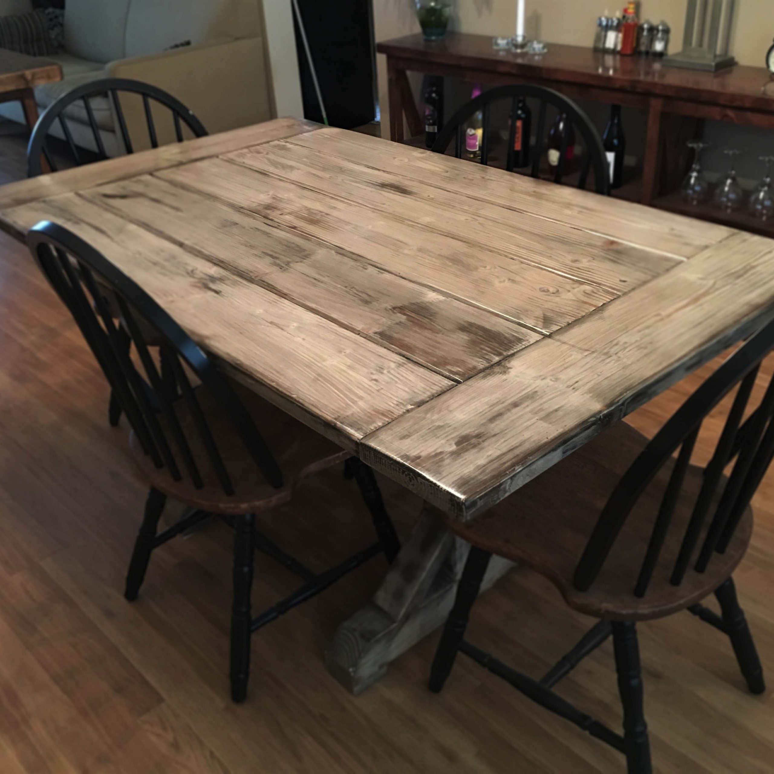 Well Liked Distressed Walnut And Black Finish Wood Modern Country Dining Tables With Custom Distressed Farmhouse Table Trestle Wood Indoor (View 30 of 30)