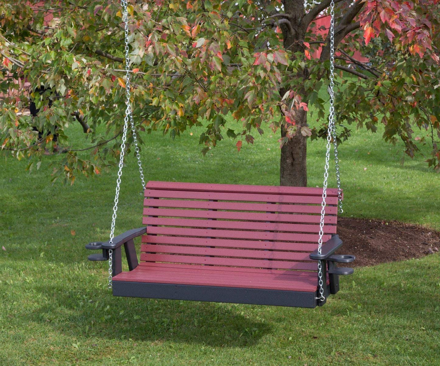 Well Liked Ecommersify Inc 4Ft Black Poly Lumber Roll Back Porch Swing With Cupholder  Arms Heavy Duty Everlasting Polytuf Hdpe – Made In Usa – Amish Crafted Intended For Vineyard 2 Person Black Recycled Plastic Outdoor Swings (Gallery 9 of 30)