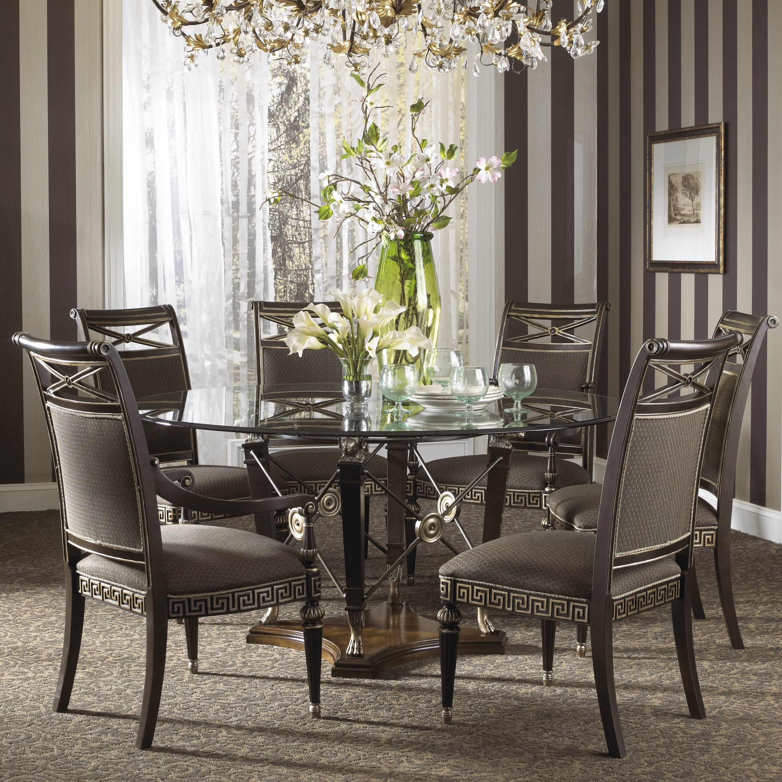 Well Liked Elegant Large Round Glass Dining Table And Chair Clearance Within Elegance Large Round Dining Tables (View 30 of 30)
