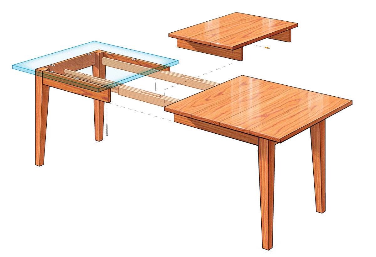 Well Liked Extension Dining Table – Finewoodworking Pertaining To Wood Kitchen Dining Tables With Removable Center Leaf (View 17 of 30)
