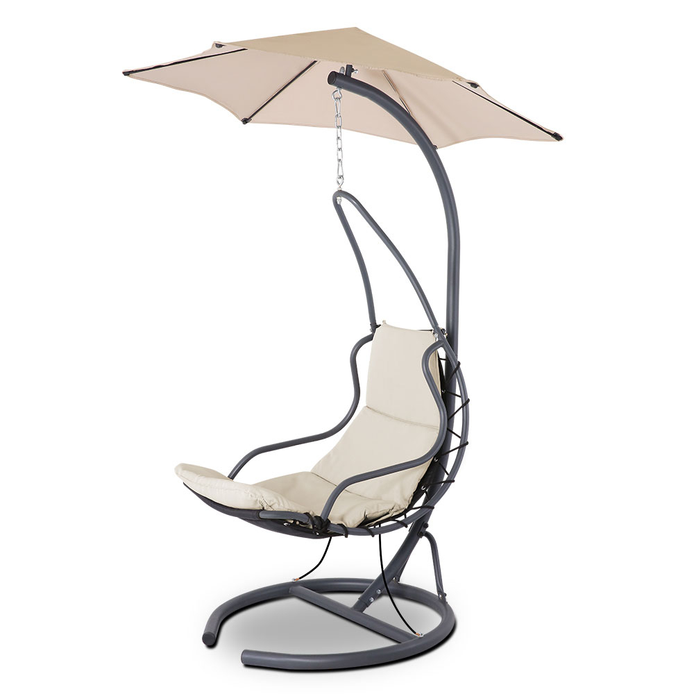 Well Liked Gardeon Outdoor Swing Hammock Chair W/ Cushion Beige Pertaining To Outdoor Swing Glider Chairs With Powder Coated Steel Frame (Gallery 27 of 30)