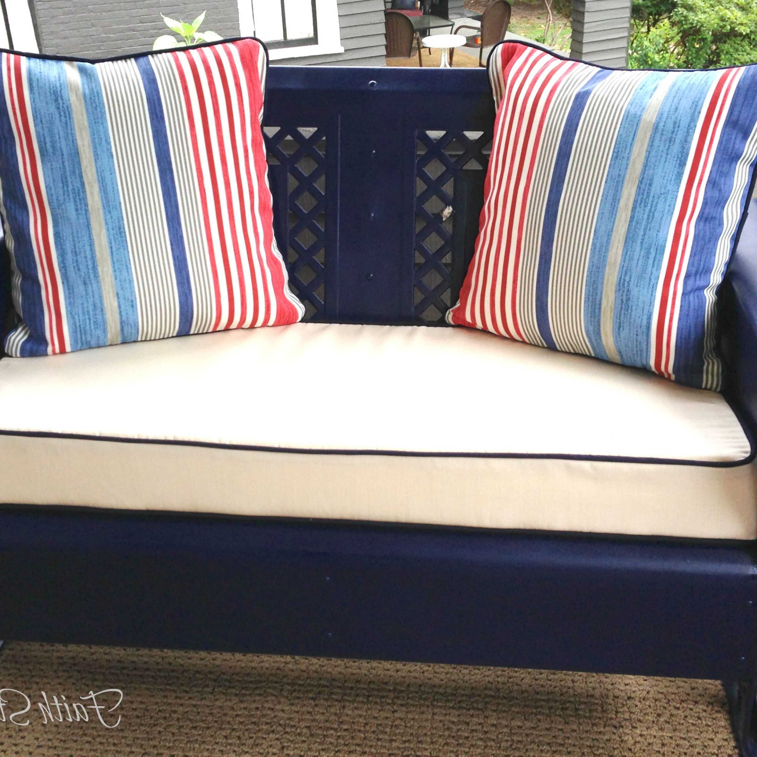 Well Liked Glider Benches With Cushions In Furniture: Vintage Aluminum Porch Glider With Cushions For (Gallery 16 of 30)