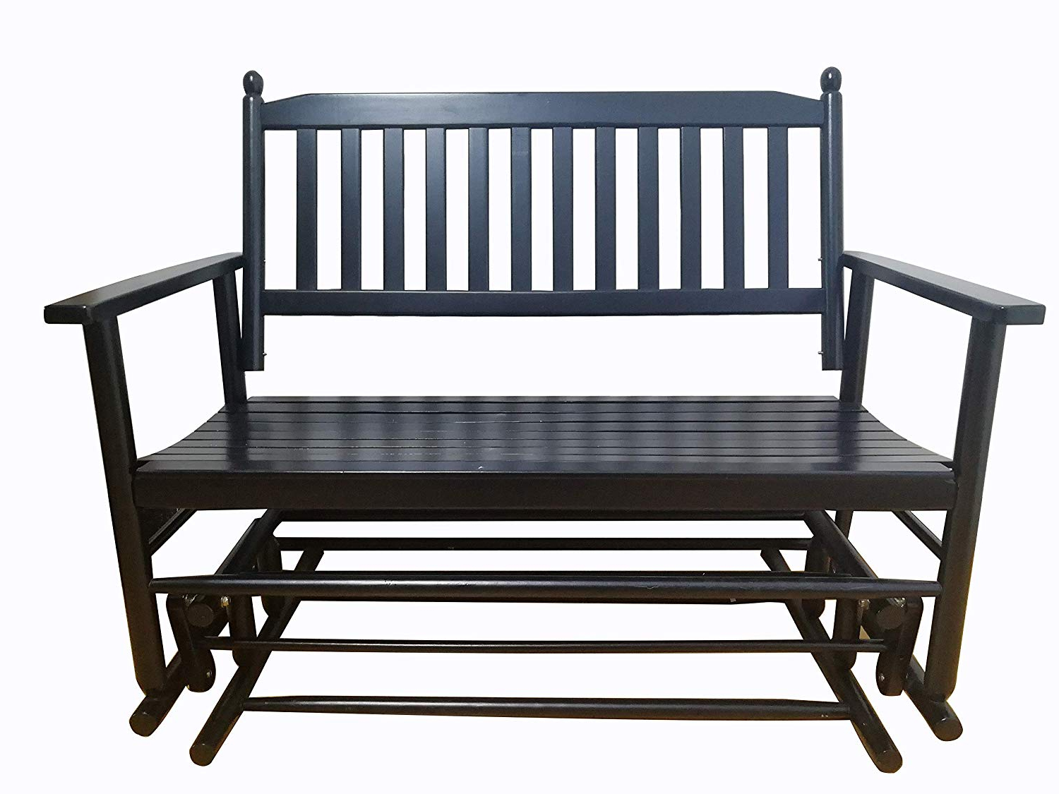 Well Liked Hardwood Porch Glider Benches In Rockingrocker – A058Bk Black Porch Wood Glider Bench Rocker Patio Wooden Loveseat — Assembled Dimensions:w49.21 X H40.16 X D (View 20 of 30)