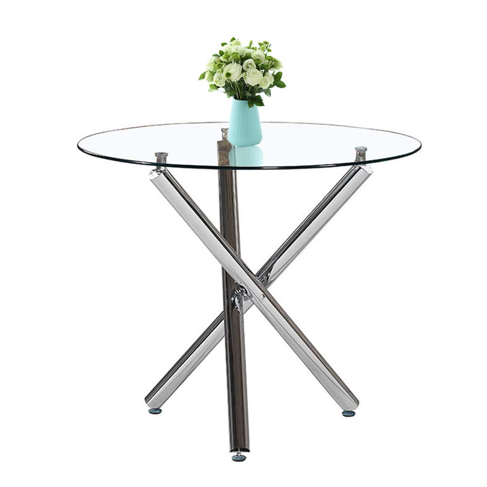 Well Liked Inmozata Modern Dining Table, Round Glass Dining Table Tempered Glass With Chrome Legswarmiehomy Inside Chrome Dining Tables With Tempered Glass (View 18 of 30)