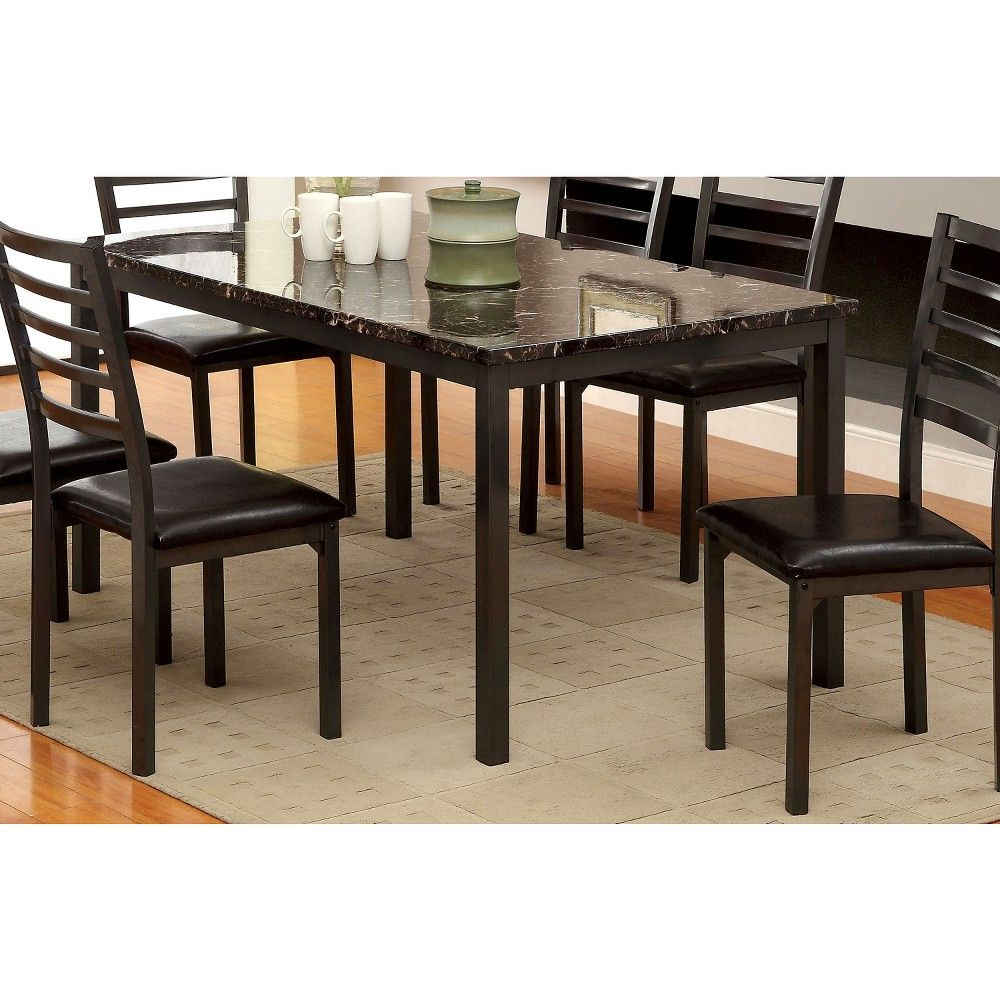 """Well Liked Iohomes Faux Marble Top 60"""" Dining Table Wood/black Throughout Atwood Transitional Rectangular Dining Tables (View 28 of 30)"""
