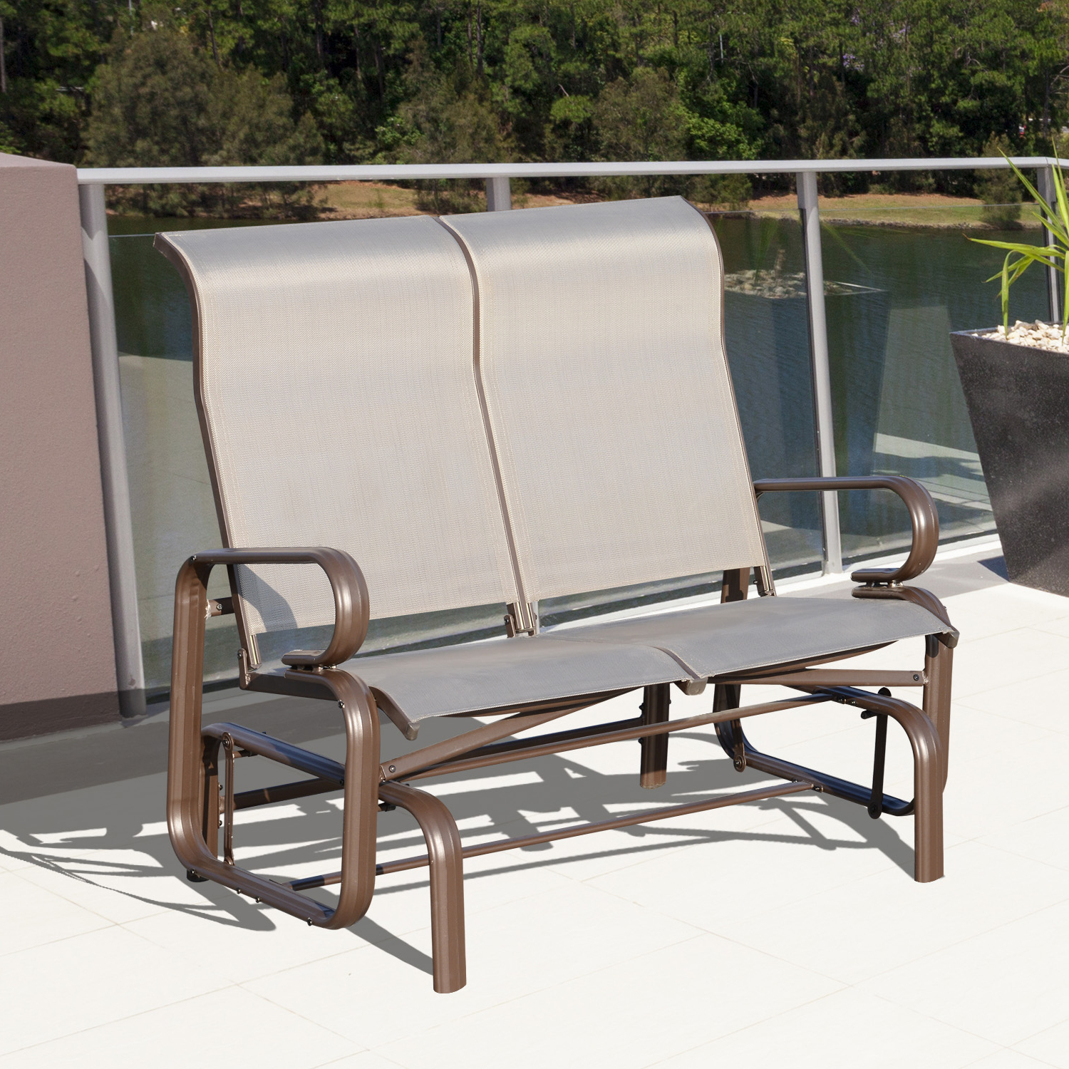 Well Liked Iron Double Patio Glider Benches Intended For Cad $ (View 24 of 30)