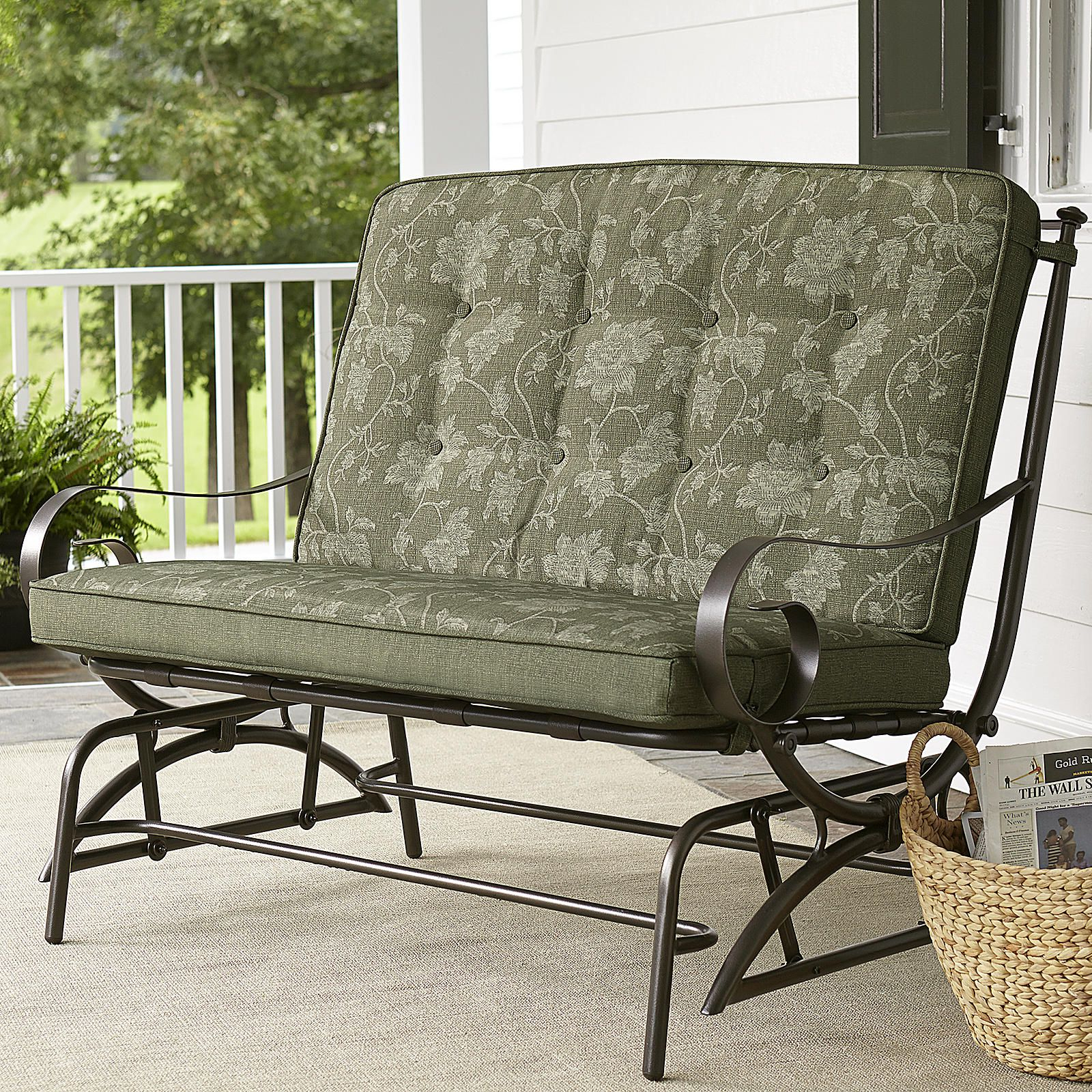 Well Liked Jaclyn Smith Cora Cushion Double Glider – Outdoor Living Throughout Glider Benches With Cushions (View 30 of 30)