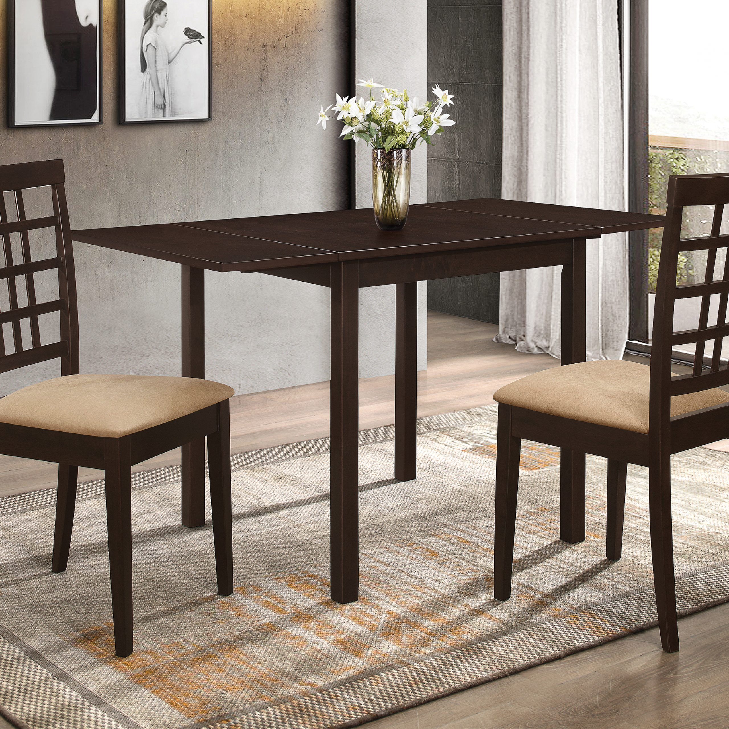 Well Liked Kelso Rectangular Dining Table With Drop Leaf Cappuccino Inside Transitional 4 Seating Drop Leaf Casual Dining Tables (View 6 of 30)