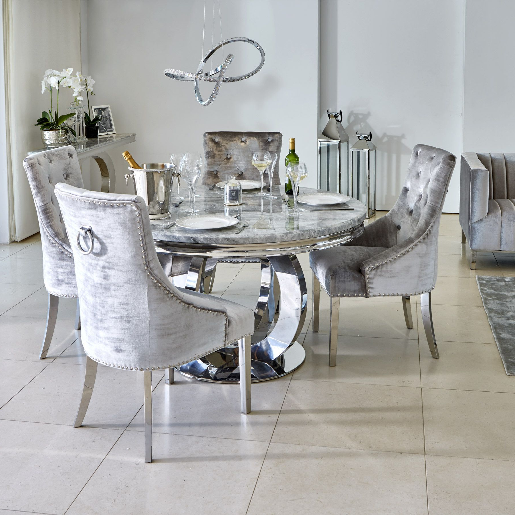 Well Liked Oracle 130Cm Round Grey Marble Dining Table & 4 Parker Grey Intended For 4 Seater Round Wooden Dining Tables With Chrome Legs (Gallery 1 of 30)