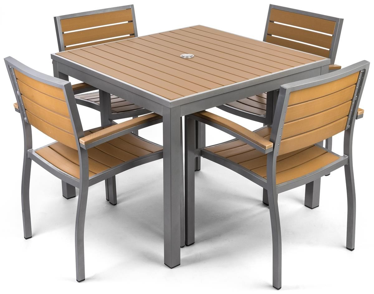 """Well Liked Outdoor Dining Table Set W/ 29.5""""H Square Faux Teak Tabletop In Bistro Transitional 4 Seating Square Dining Tables (Gallery 7 of 30)"""