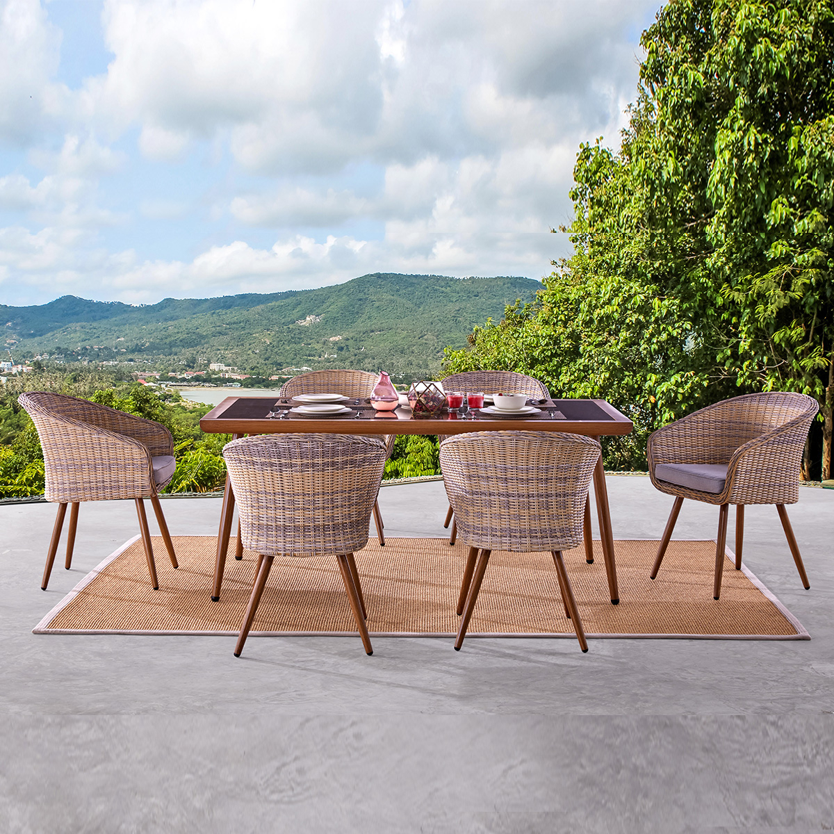 Well Liked Outdoor Wicker Plastic Tear Porch Swings With Stand Throughout Martini 6 Seater Dining (View 30 of 30)